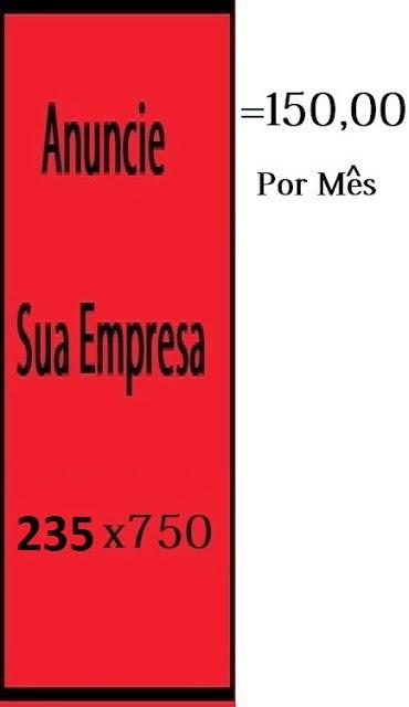 Banner 235 x 750 = R$150,00 por mês