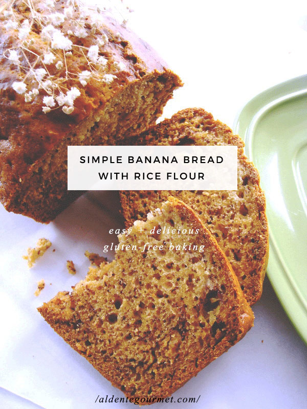 Banana bread with rice flour gluten free easy gluten free one of my good friends is gluten intolerant and she has been pretty upset about it lately i decided to make a gluten free recipe for her forumfinder Choice Image