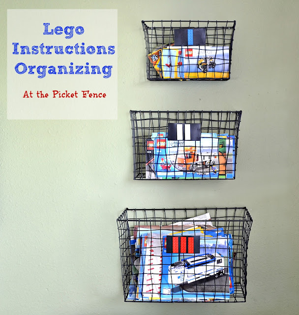 Legos, organizing Legos, Lego Instructions, wall baskets, wall storage