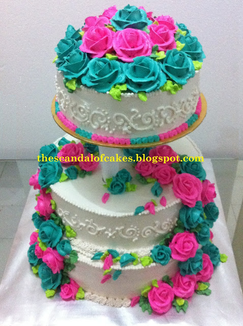 Pink Amp Turquoise Wedding Cake The Scandal Of Cakes