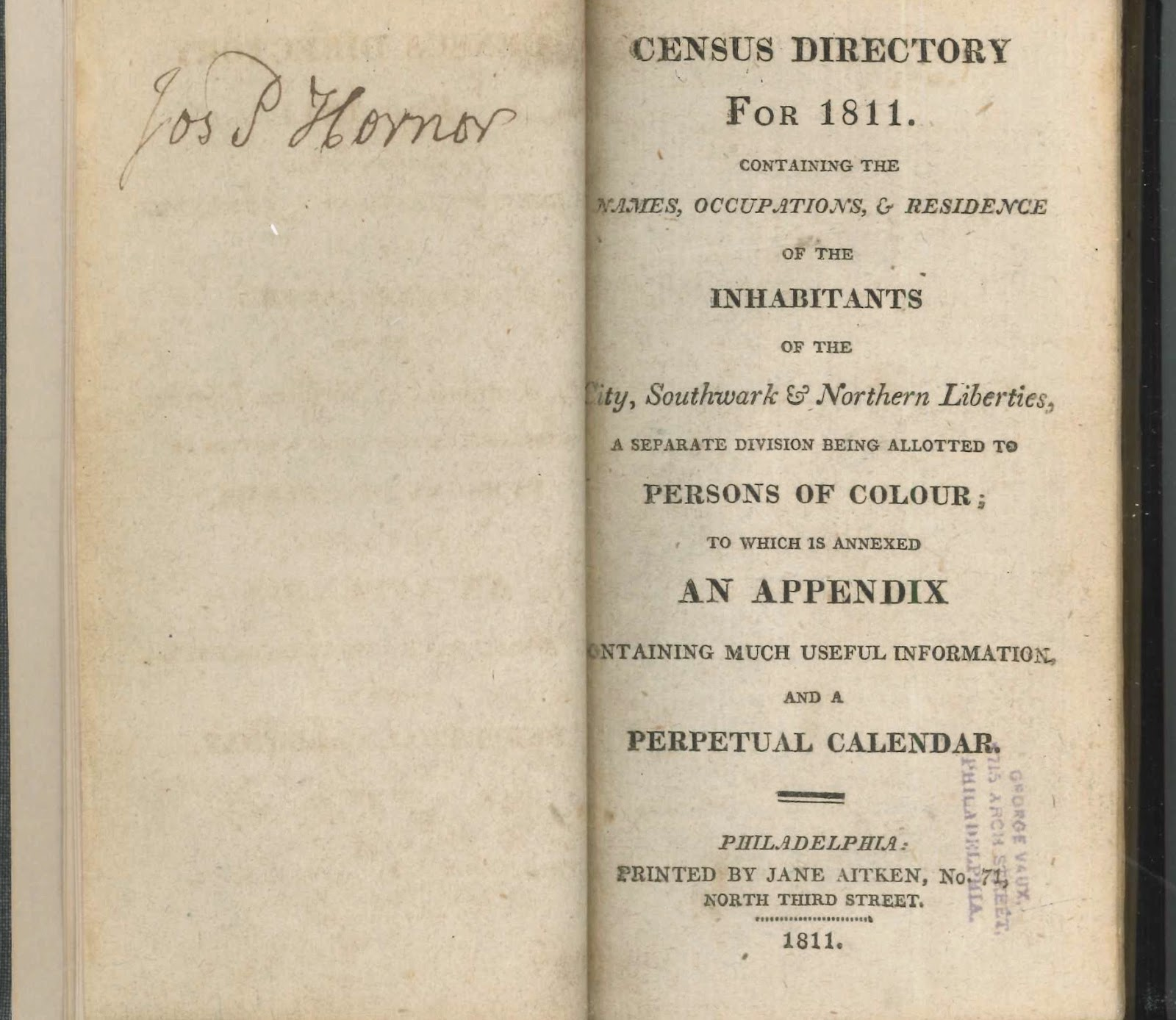 A title page for the 1811 census directory.