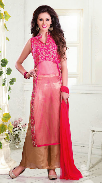 straight salwar suit with plazo pants