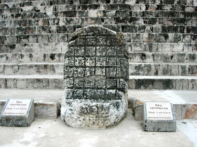 This stele at the Maya city of Uxmal in Mexico looks like a bixi turtle supporting a memorial tablet.