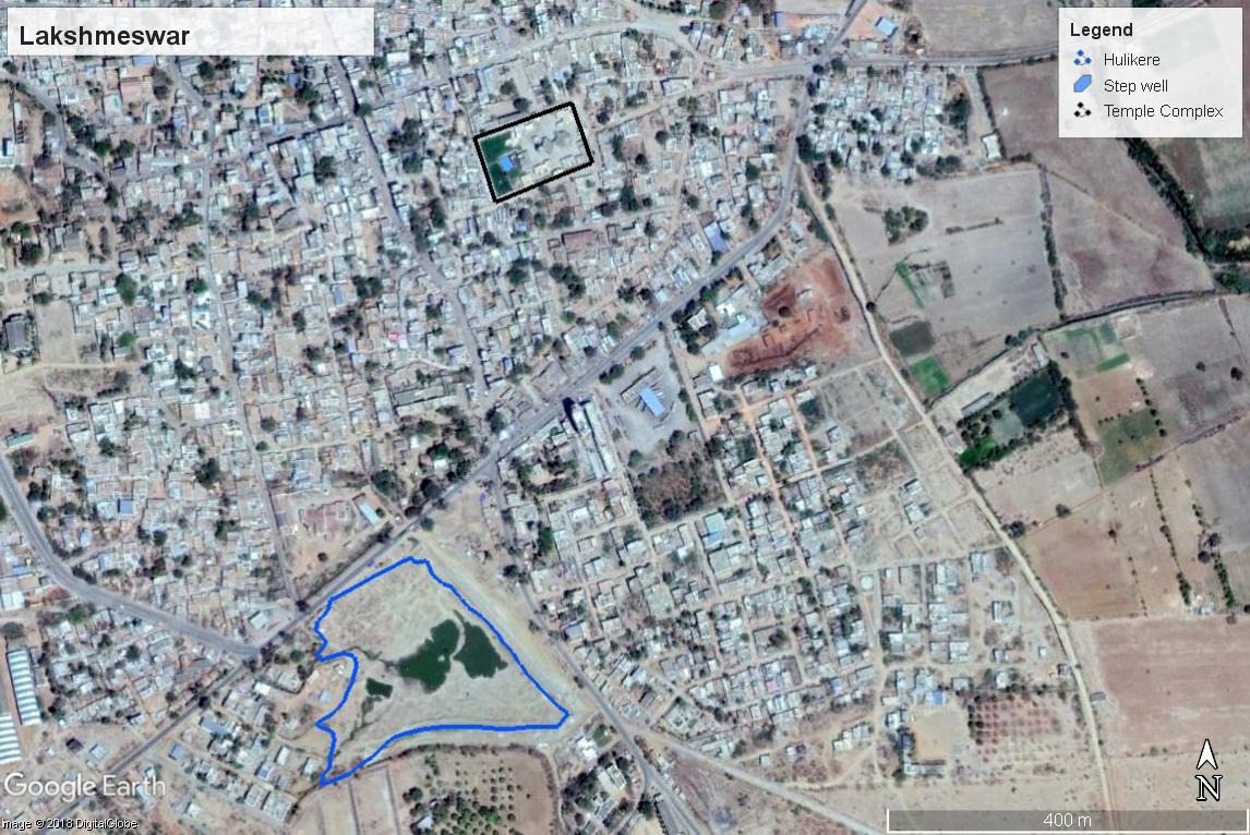 google earth map of lakshmeswar karnataka with overlay