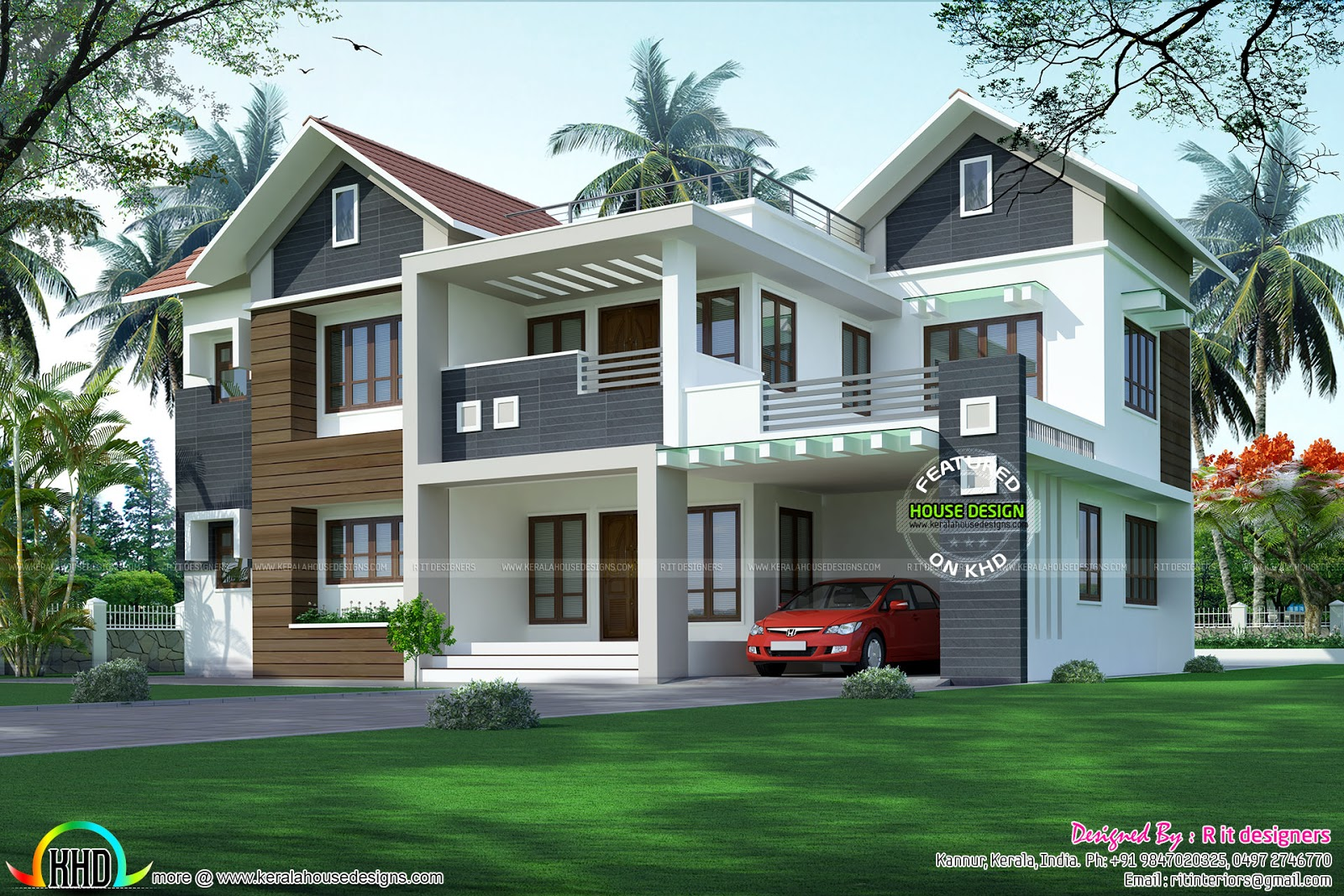 Modern mixed roof home 2984 sq ft kerala home design and for Small contemporary house plans in kerala