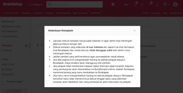 Ketentuan Komplain di Bukalapak.com