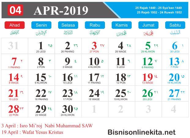 kalender 2019 april