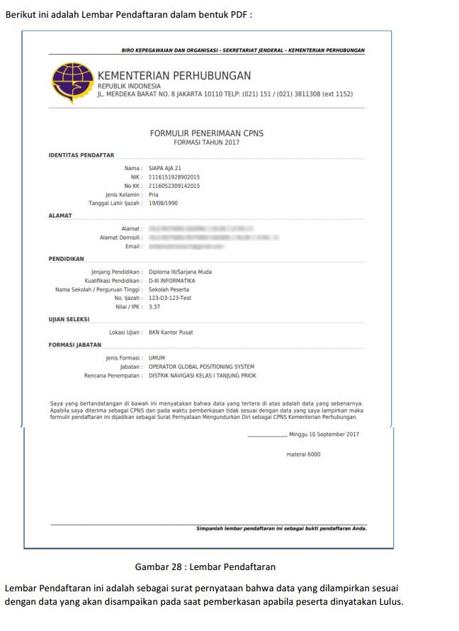Lembar pendaftaran Kemenhub