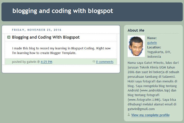 Classic Blogger template Preview