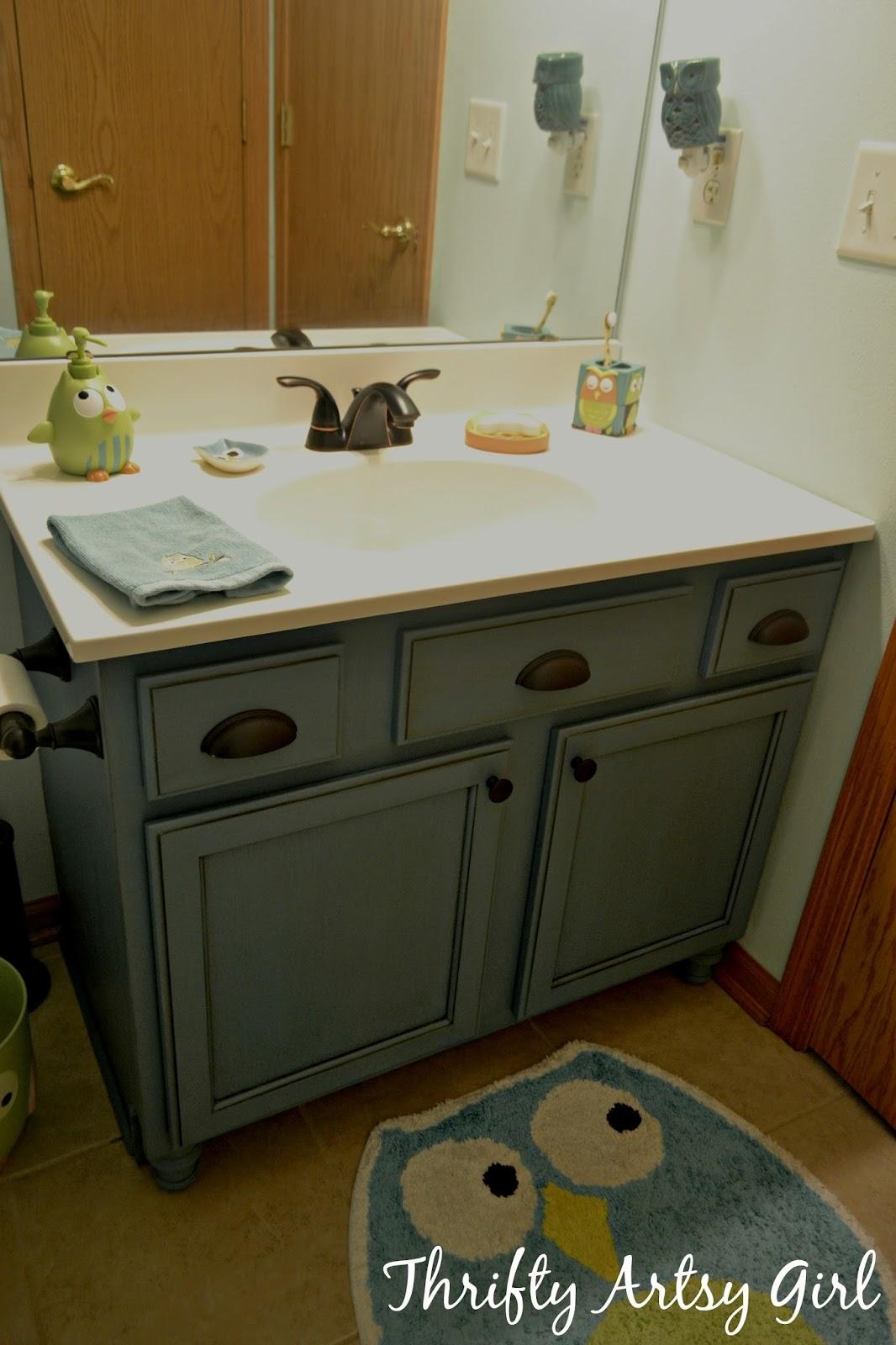 Thrifty Artsy Girl Builders Grade Teal Bathroom Vanity
