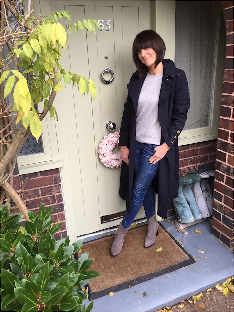 My Midlife fashion, zara leather cowboy heel ankle boots, wallis w navy military coat, marksa nd spencer pure cashmere jumper