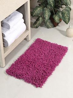 Pepperfry  Offer  Buy Purple Cotton 24 x 16 Inch Chevy Bath Mat by HomeFurry at Rs.89