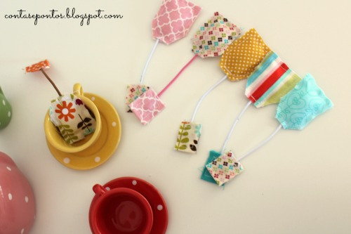 tea bags in fabric