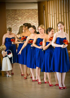 Royal Blue Bridesmaid Dresses with Red Shoes