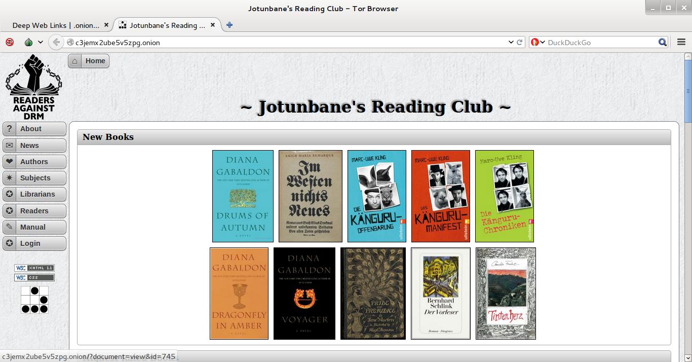 Sites de livros e clubes de leitura na Deep Web