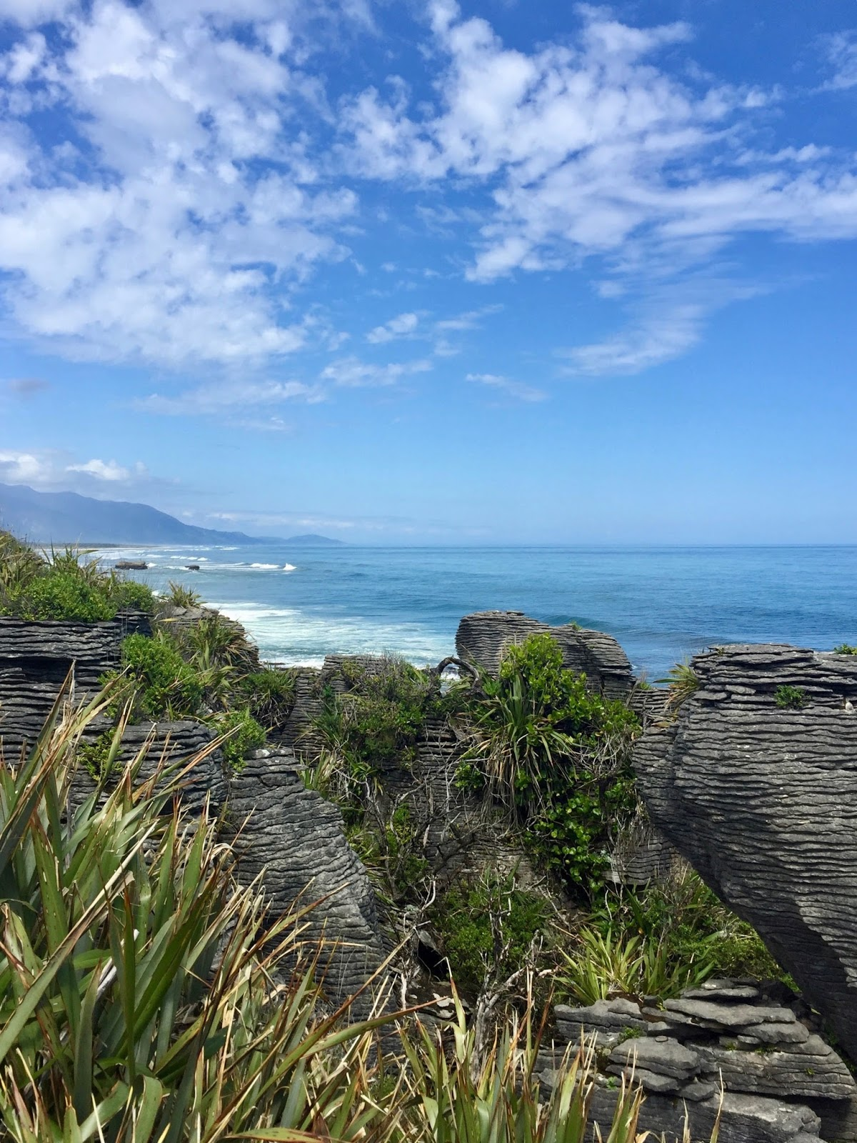 View from Pancake Rocks Punakaiki, best walks in New Zealand