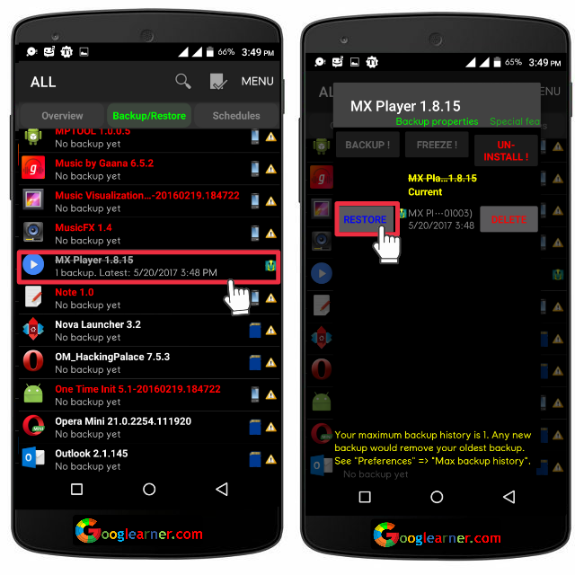 How To Create Android App Backup and Restore App+Data.