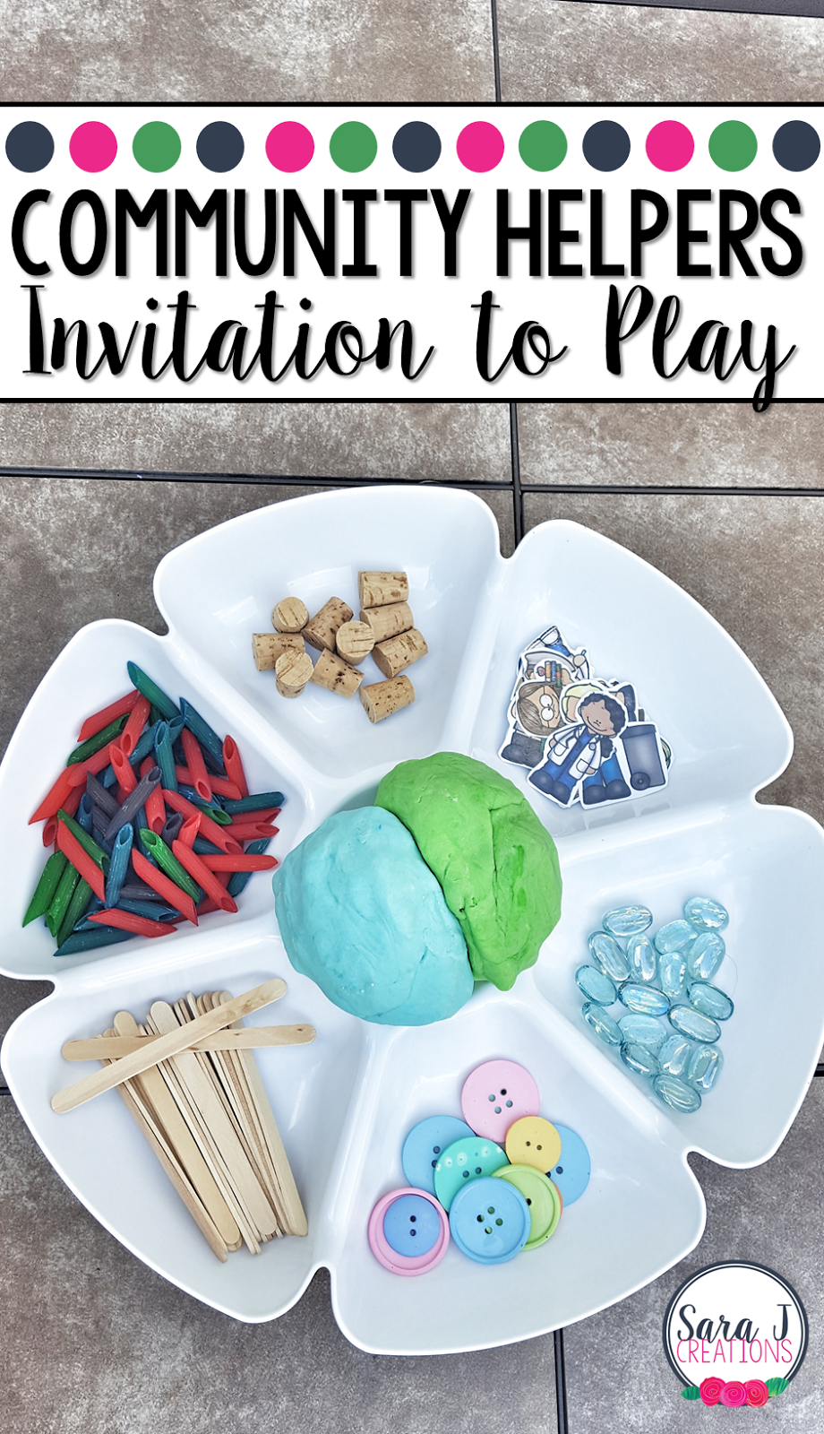 Community helpers invitation to play is a fun open ended activity for preschoolers to explore and create.