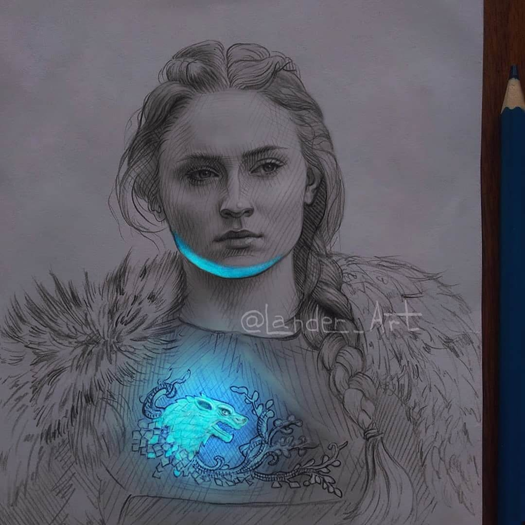 05-Sansa-GoT-Sophie-Turner-Chertkova-Lena-Game-of-Thrones-Glowing-Sketches-www-designstack-co