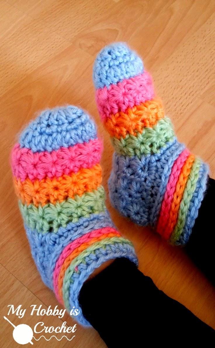 My Hobby Is Crochet: Starlight Toddler Slippers - Free Crochet ...