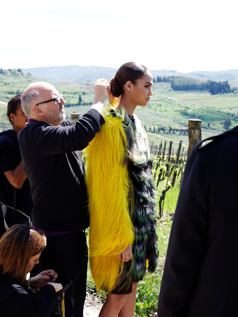 Sam McKnight fixing Joan Smalls's hair on the set of Fendi's FW 12-13 Ad Campaign Shoot