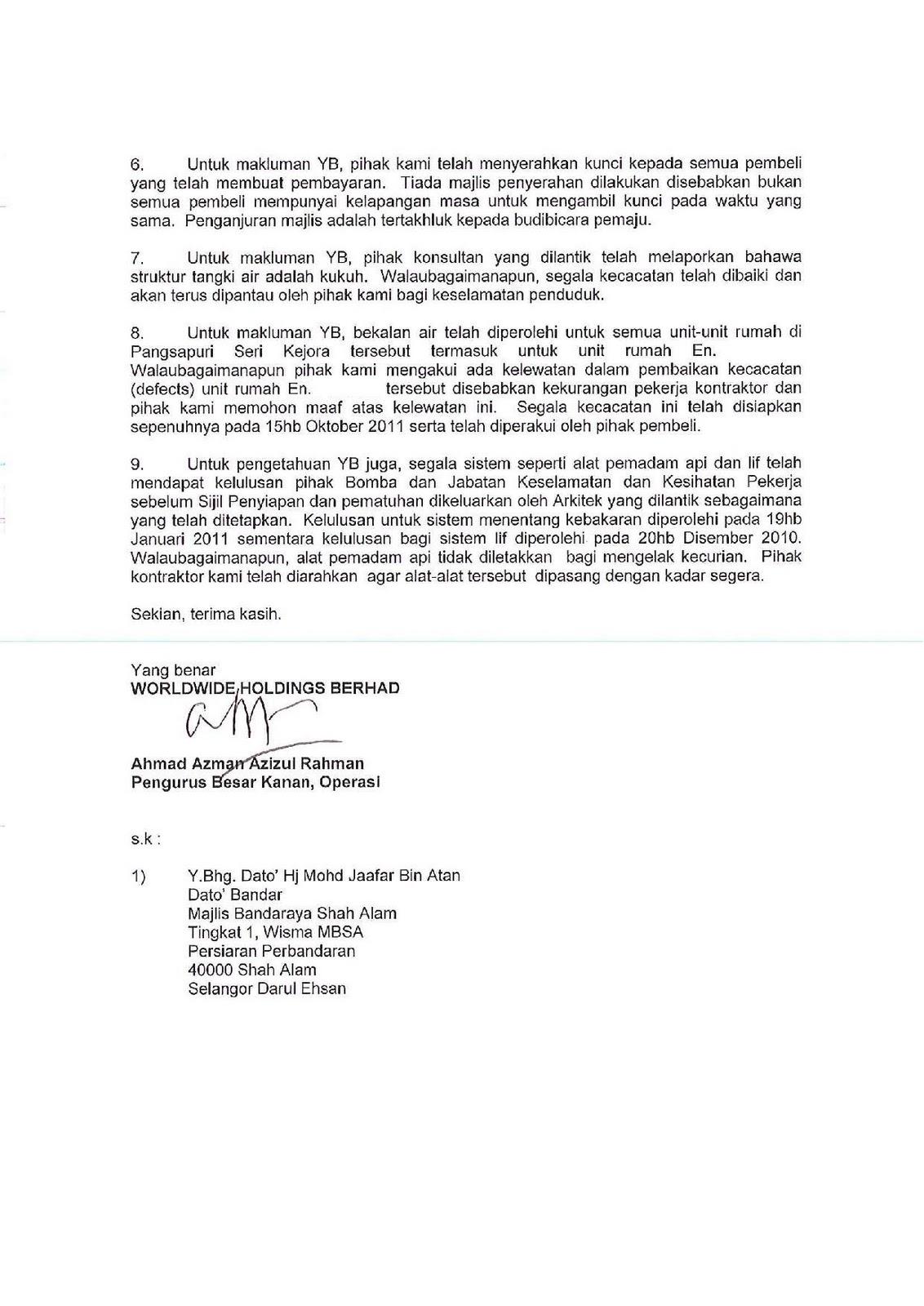 contoh surat aduan kepada yb