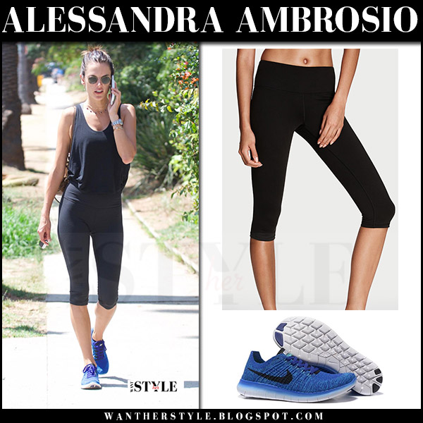 Alessandra Ambrosio in black leggings victorias secret and blue sneakers nike free flyknit workout fashion july 2017