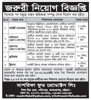 Mashrifa Food Product Limited Job Circular 2018