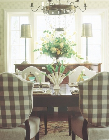 yellow upholstered dining room chairs posture chair reviews eye for design: decorate with buffalo checks charming interiors