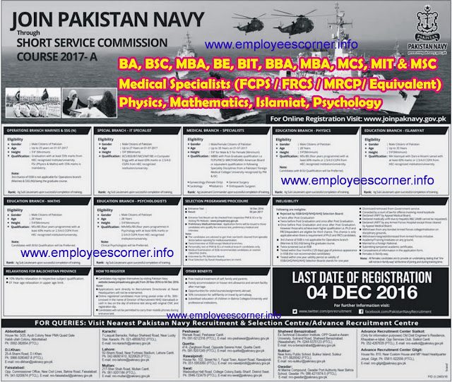 Pak Navy Jobs through SSC Course 2017 A