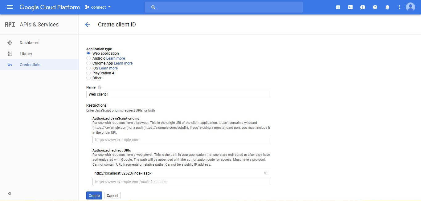Login With Google Account API In ASP NET And Get Google Plus