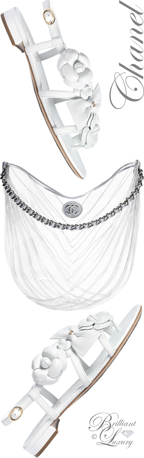 Brilliant Luxury ♦ Chanel pvc metallic calfskin and silver-tone metal transparent hobo handbag and Chanel white flower flat sandals
