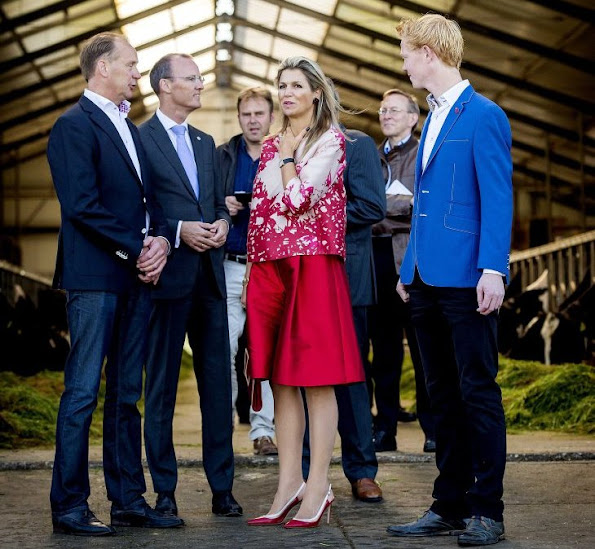 Queen Maxima of The Netherland visits a dairy farm (FrieslandCampina) in Koudum, The Netherlands