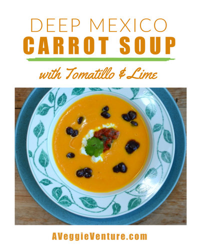 Deep Mexico Carrot Soup with Tomatillo & Lime ♥ A Veggie Venture, colorful soup served hot or cold. Low Carb. Weight Watchers Friendly. Vegan. Naturally Gluten Free. Whole30 Friendly. And ... delicious!