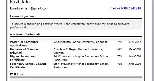 mca fresher resume doc download