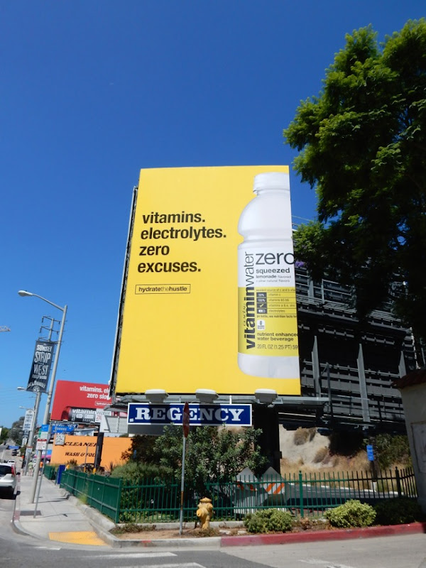 Yellow Vitamin Water Hydrate Hustle billboard Sunset Strip