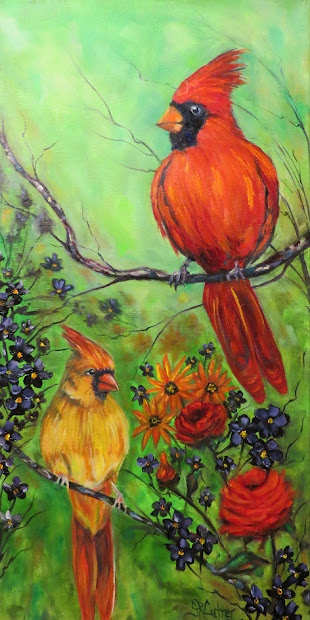 Cardinals, birds, male and female original art in oils