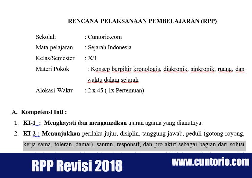 RPP K13 Sejarah Wajib Kelas X Revisi 2018