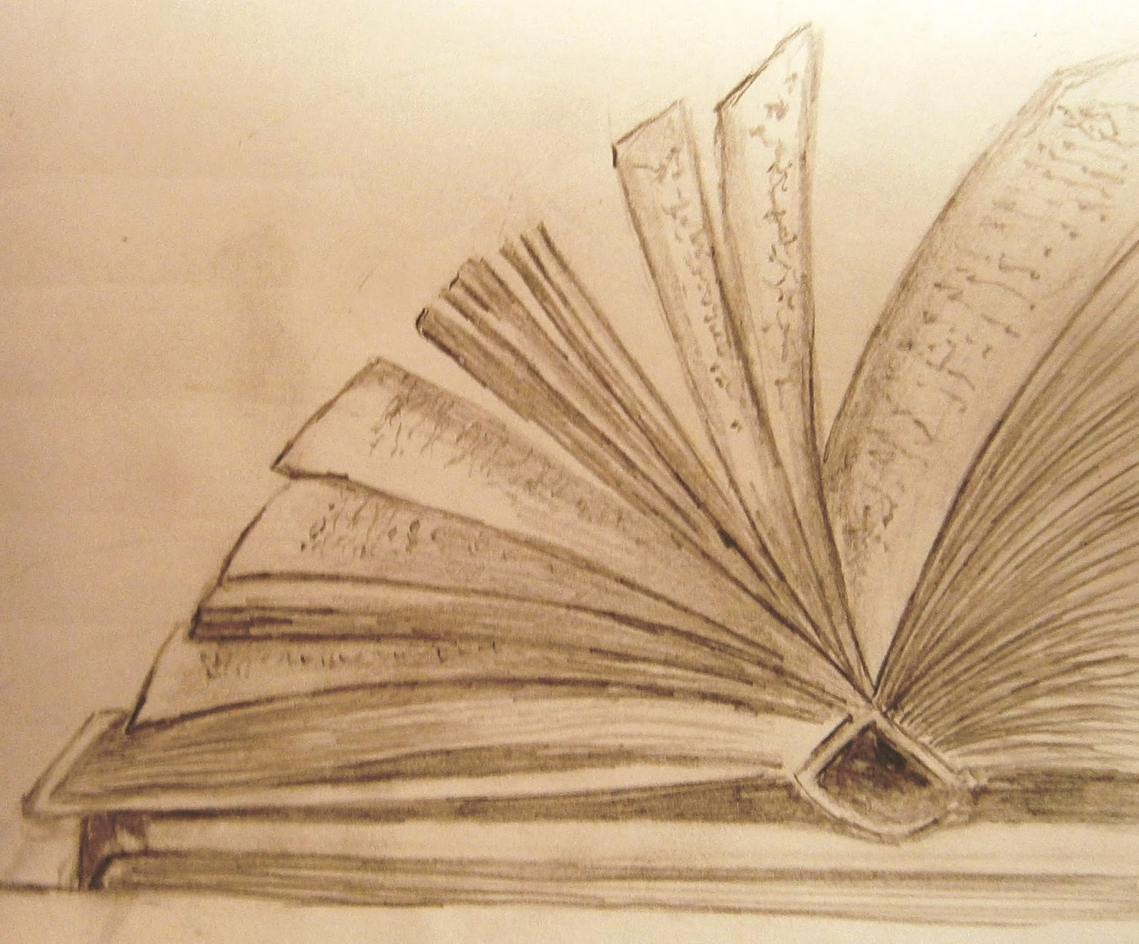 Open book pencil sketch