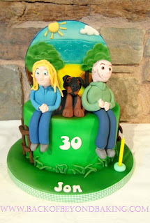 woodland and beach birthday cake