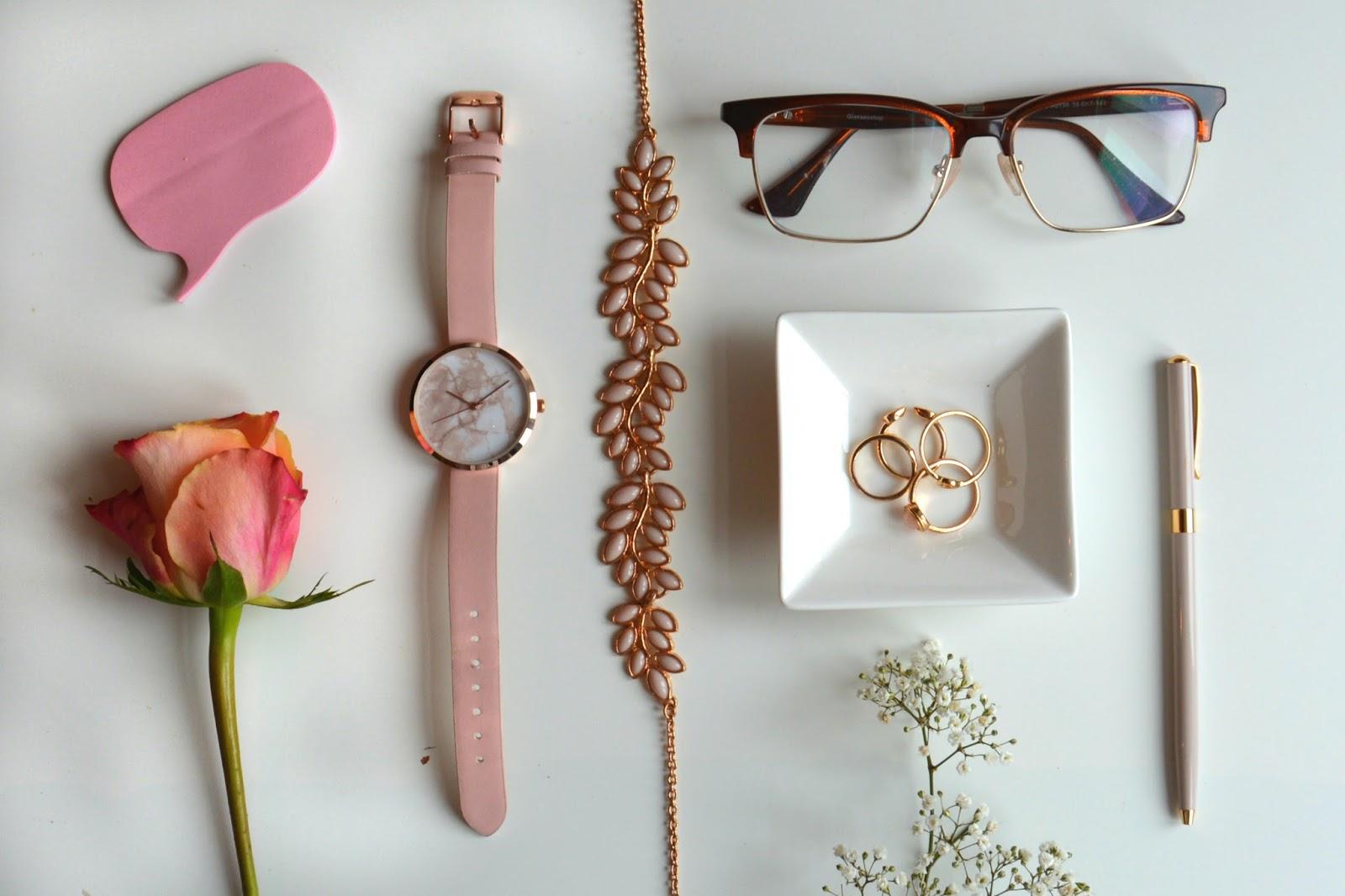 Fresh Flowers, Asos Watch, Pen, Primark Necklace, Primark Rings, GlassesShop.com glasses