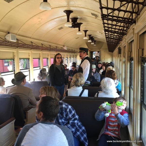 interior of train at Railtown 1897 State Historic Park in Jamestown, California