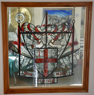 Stained glass window in Information Technologists hall showing the arms of the City of London