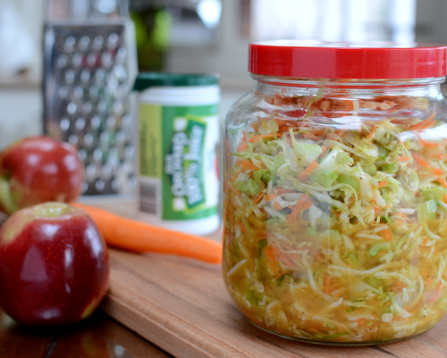 Apple Juice Slaw, another healthy salad ♥ AVeggieVenture.com, naturally sweetened with apple juice. Vegan. Low Carb. Gluten Free. WW friendly!