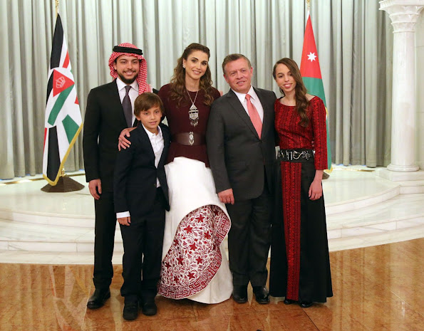 King Abdullah, Queen Rania, Crown Prince Al Hussein, Princess Salma, Prince Hashem attend a ceremony held in Amman for kingdom's 70th Independence Day. Queen Rania dress style, fashions