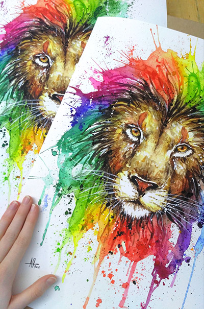 Watercolor rainbow lion drawing fine art print