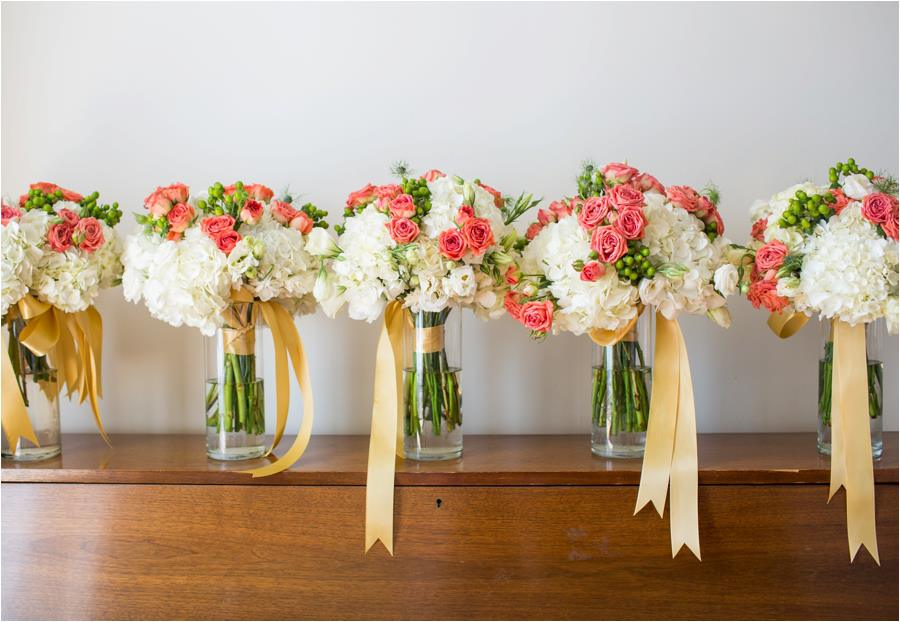 Violet Gardens Floral Designs: Coral, White, and Dusty Shale Wedding