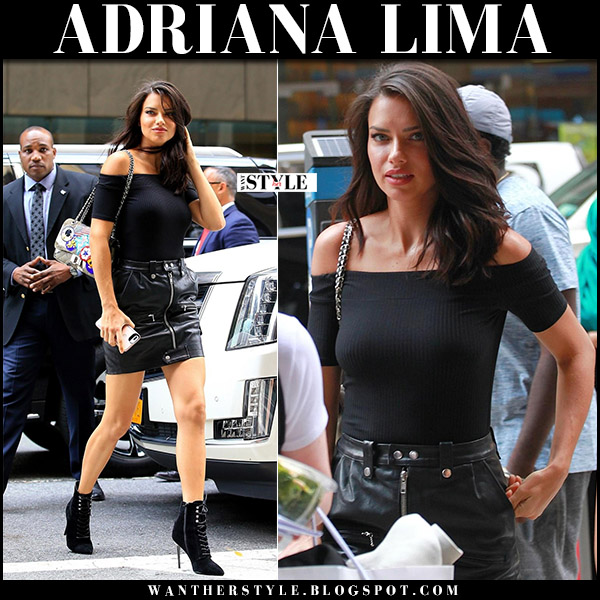 Adriana Lima in black leather mini zip skirt frame august 28 2017