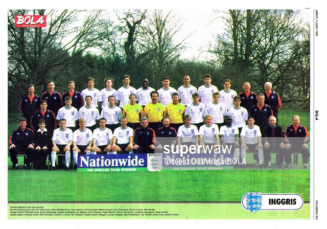 FULL TEAM SQUAD ENGLAND 1999