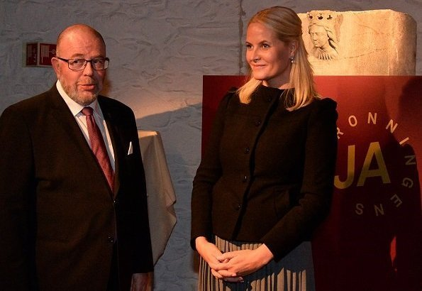 Princess Mette Marit attended opening of an exhibition at Archbishop's Palace